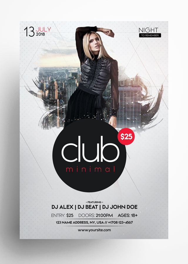 Club Minimal PSD Flyer Template