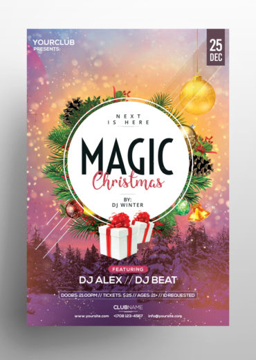 Magic Christmas PSD Flyer Template