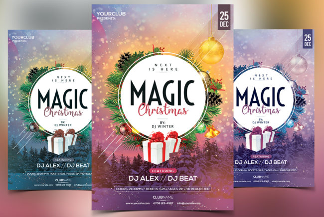 Magic Christmas PSD Flyer Template