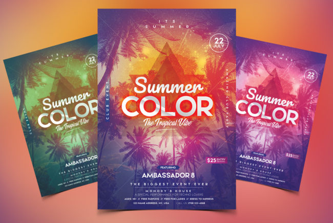 Summer Color PSD Flyer Template