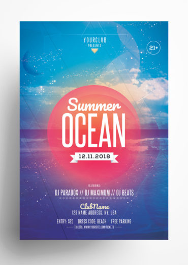 Summer Ocean PSD Flyer Template