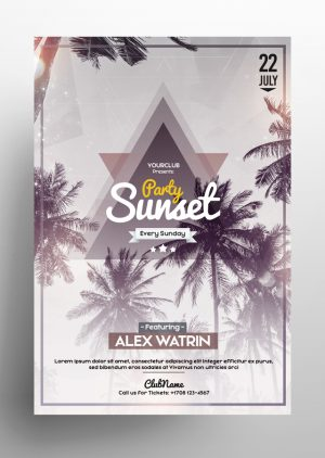 Sunset Party PSD Flyer Template