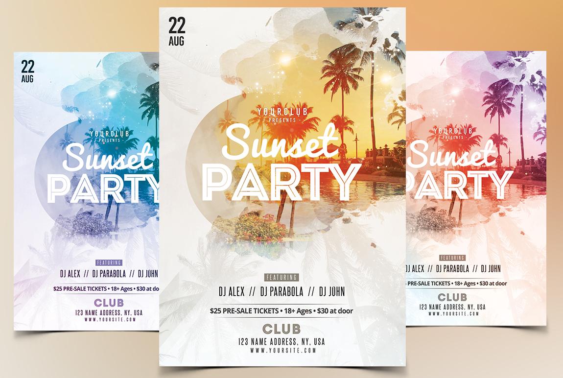 Sunset Party PSD Flyer
