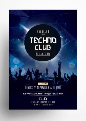 Techno Club PSD Flyer Template