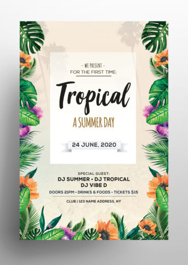 Tropical Day PSD Flyer/Invitation Template