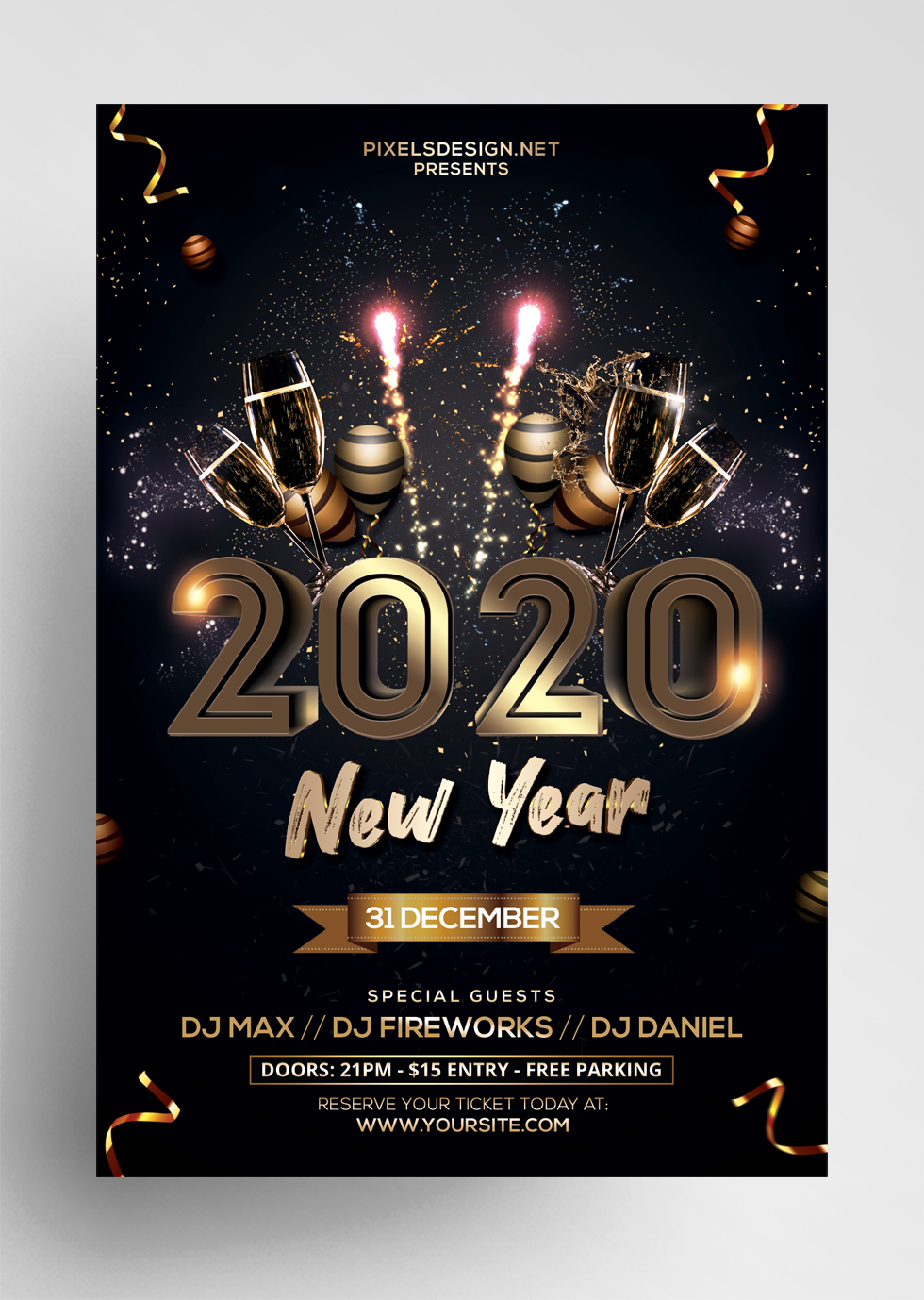 2020 New Year Eve Free PSD Flyer Template