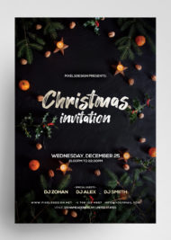 Christmas Invitation Freebie PSD Template