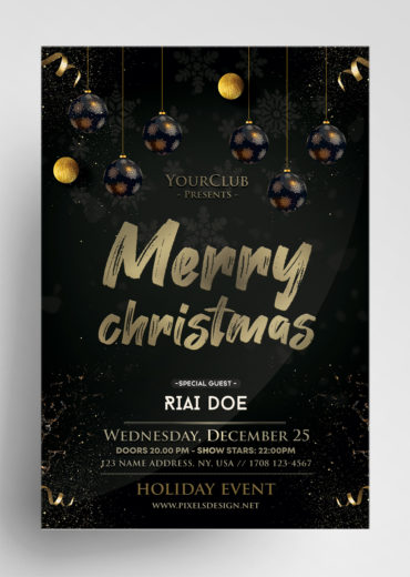 Merry Christmas Black and Gold Flyer PSD