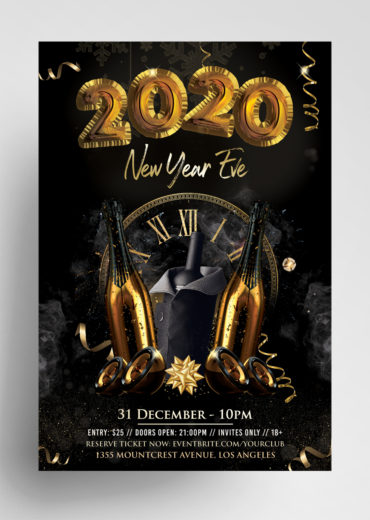 2020 New Year Eve PSD Flyer Template vol4