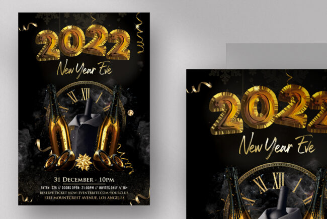 2022 New Year Eve PSD Flyer Template vol4