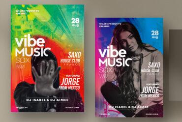 Vibe Music Sax - PSD Flyer Template