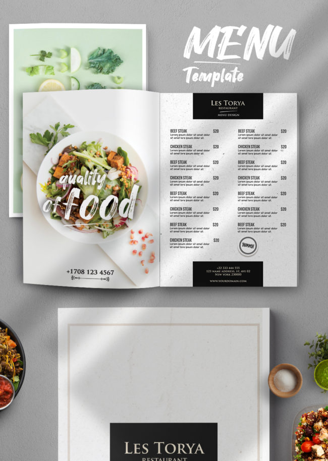 Classic Restaurant Food Menu PSD Template