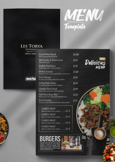 Double Sided Restaurant Menu PSD Template