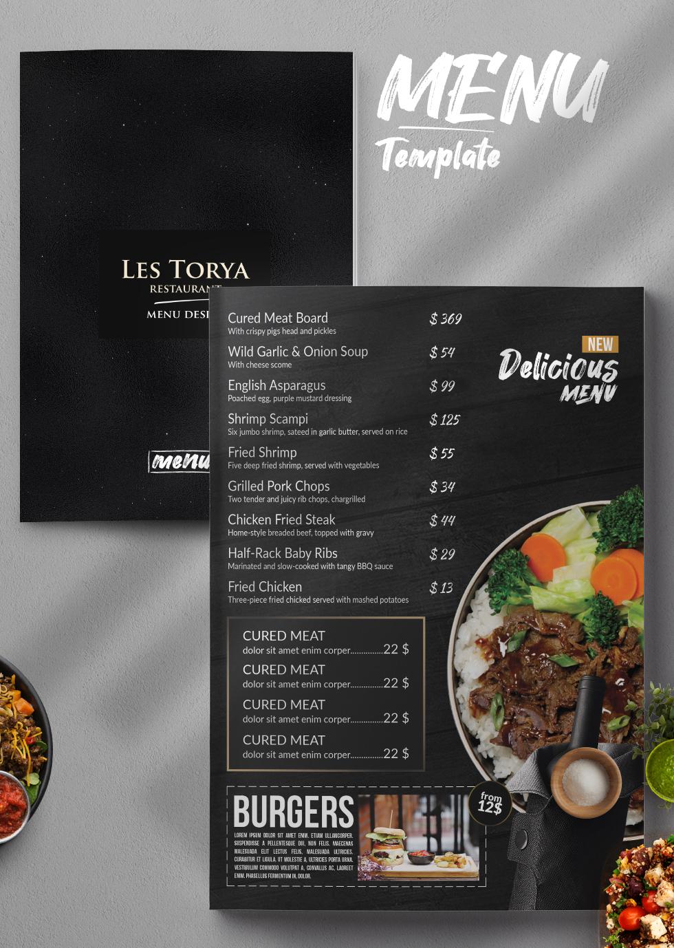 Double Sided Restaurant Menu PSD Template