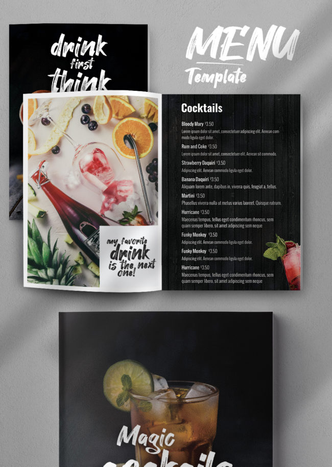 Creative Drinks Menu PSD Template