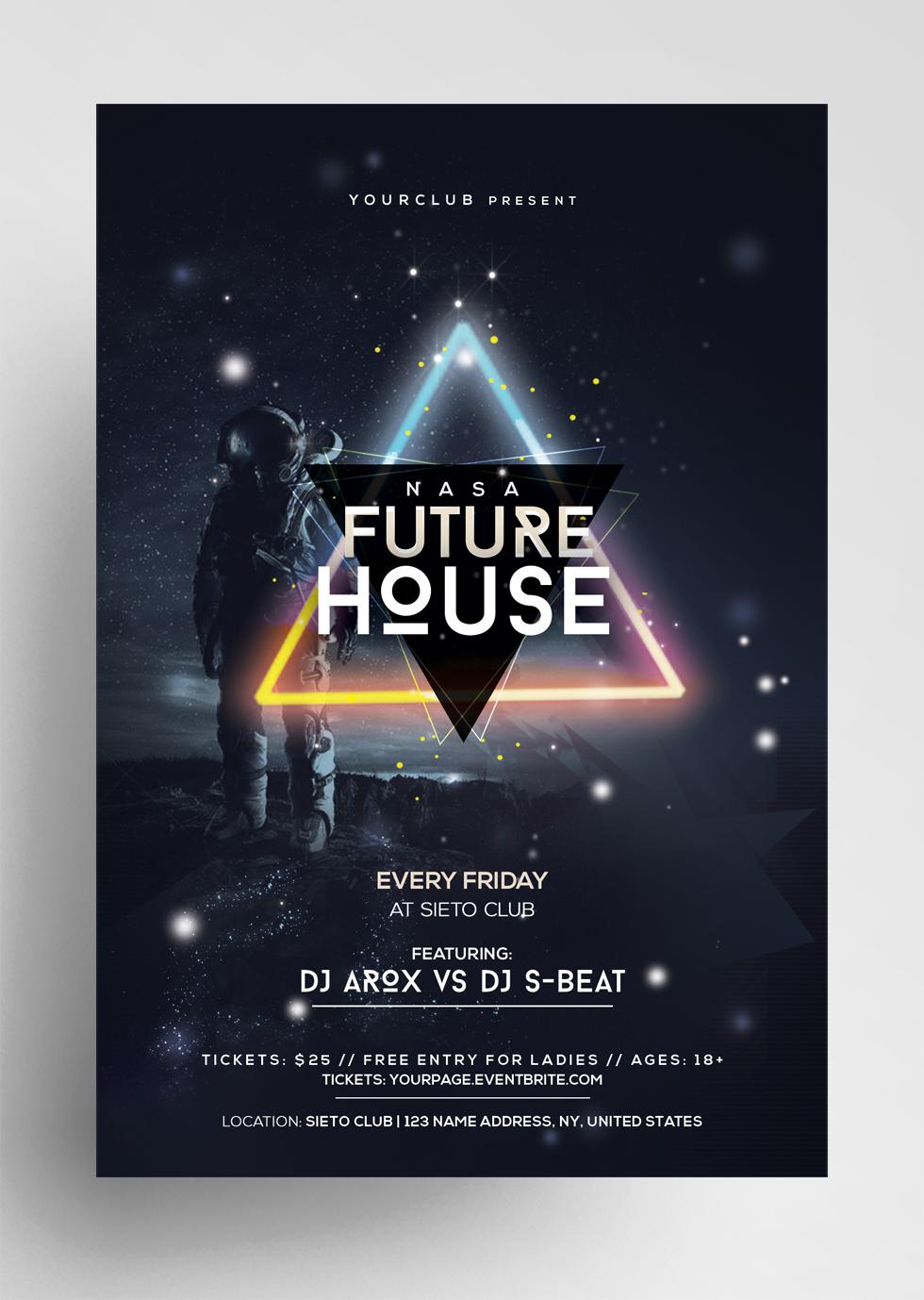 Future House - EDM Geometric PSD Flyer