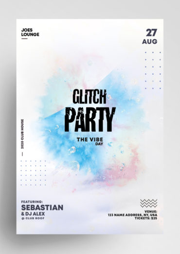 Glitch Party PSD Flyer Template