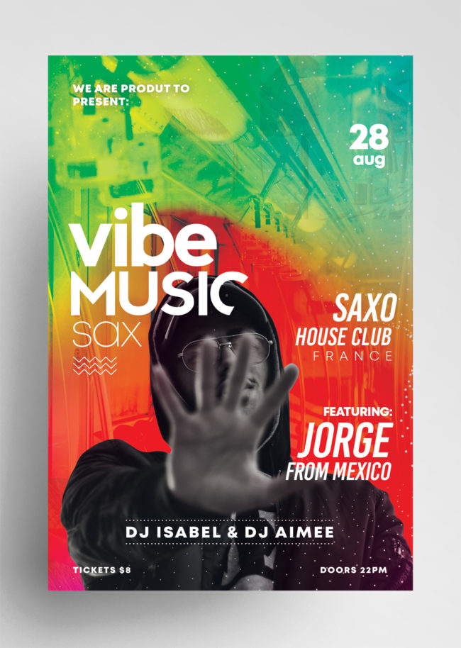 Vibe Music Sax - PSD Flyer Template