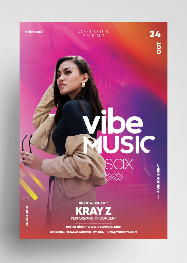 Vibe Event ~ Colorful PSD Flyer Templates
