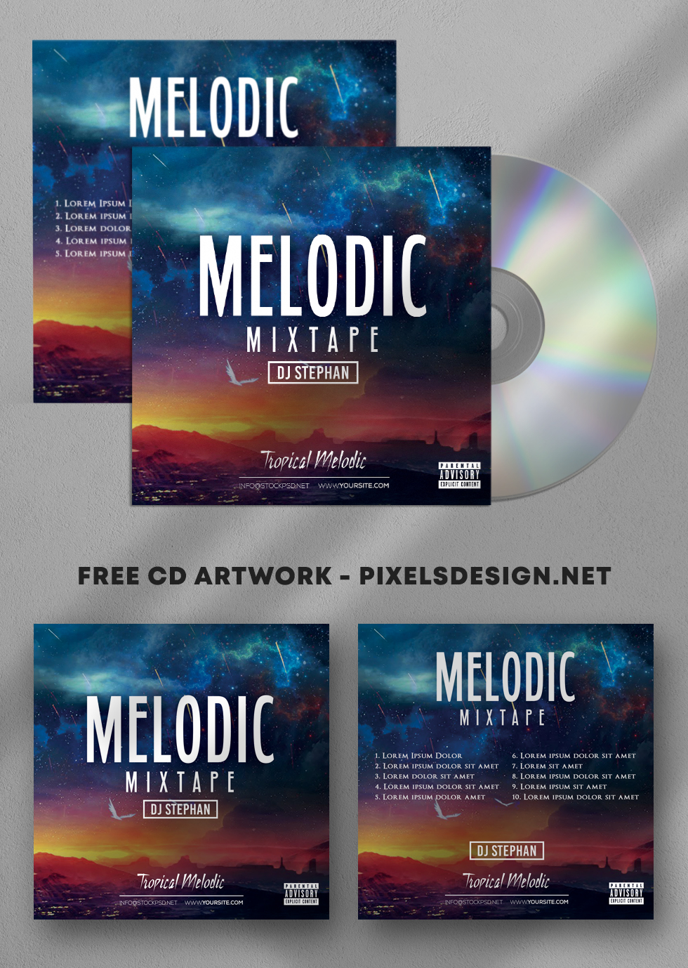 Melodic Mixtape – Free PSD Cover Artwork