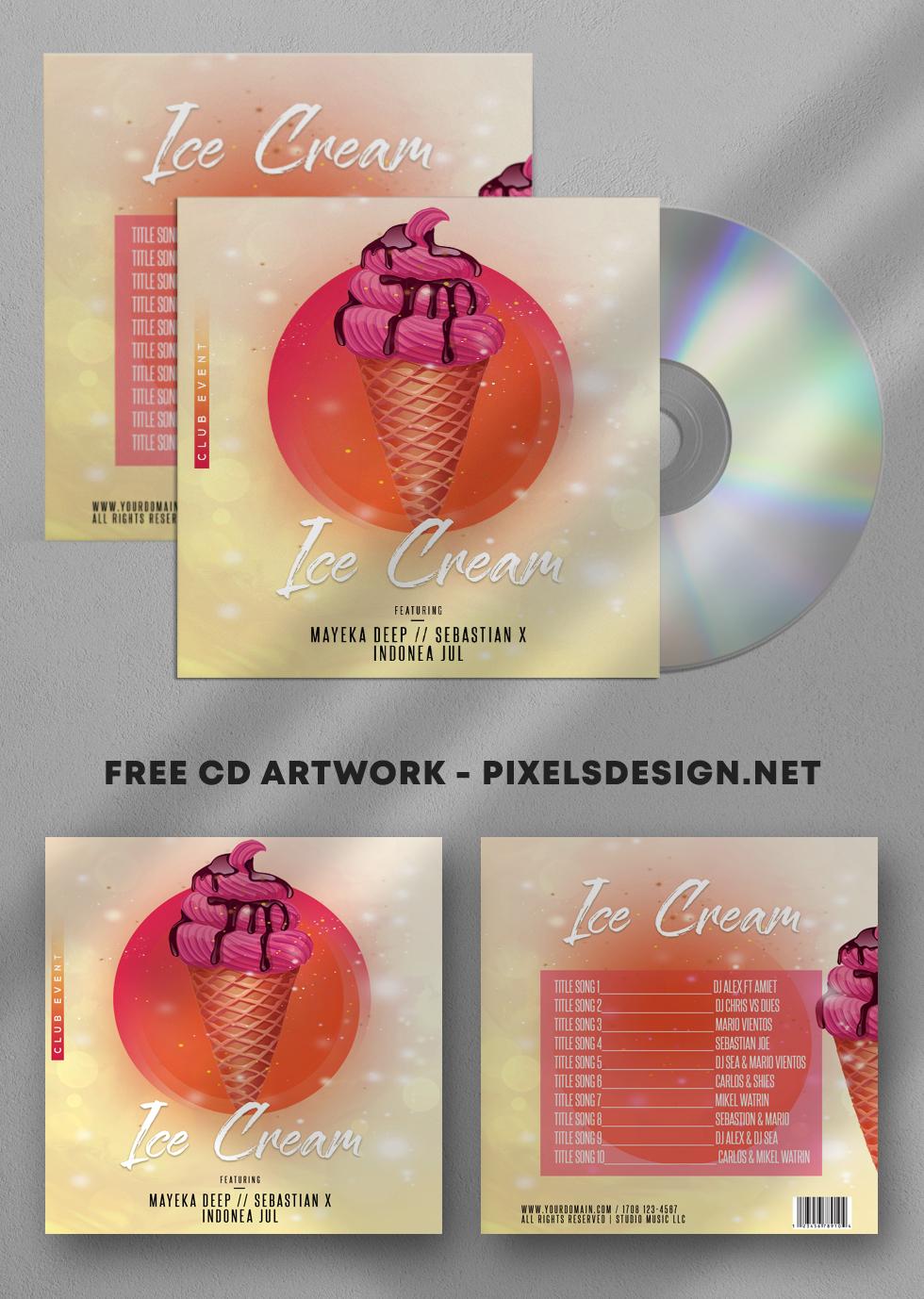 Ice Cream Free CD Artwork PSD Template