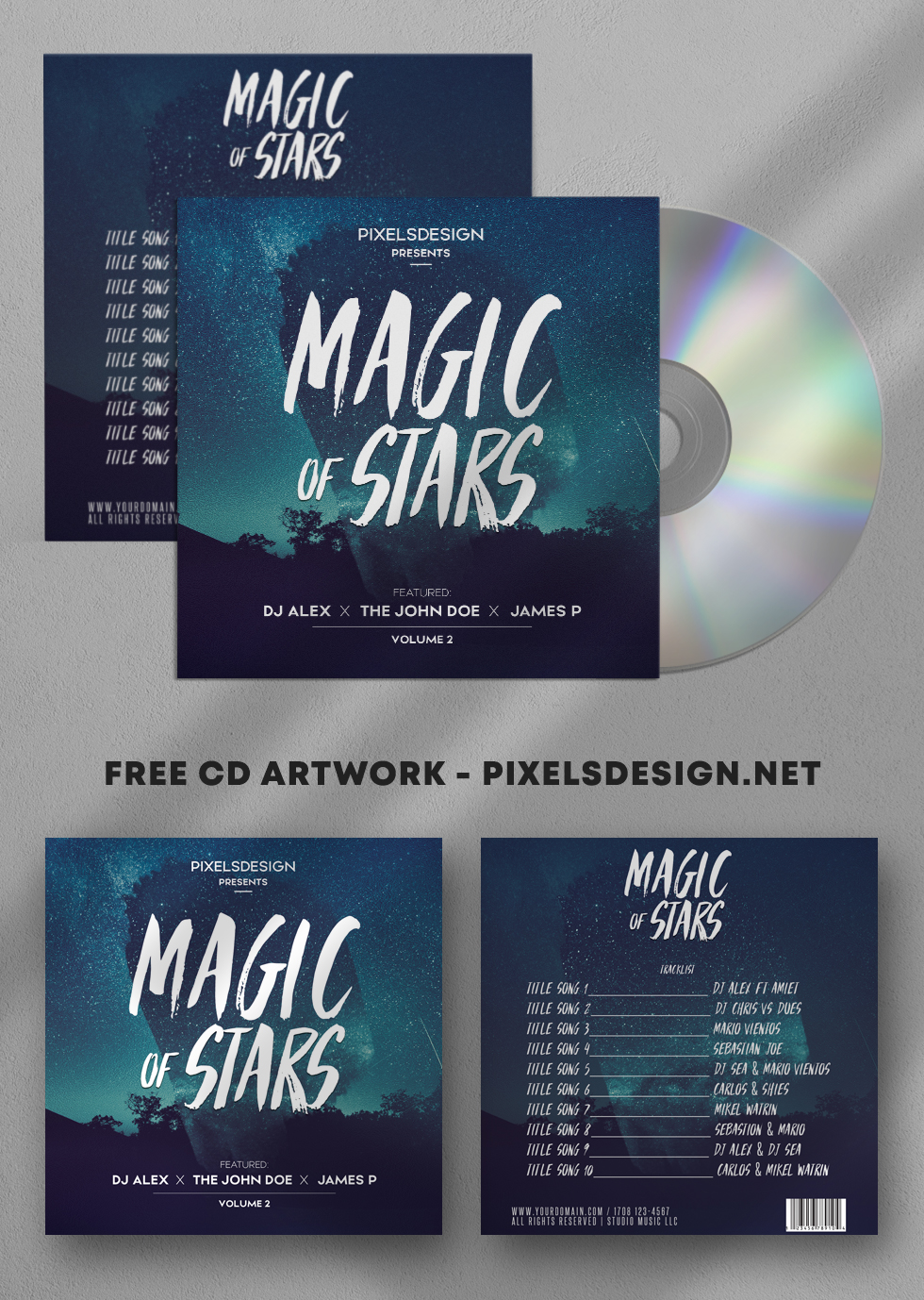 Magic of Stars Free CD Artwork PSD Template