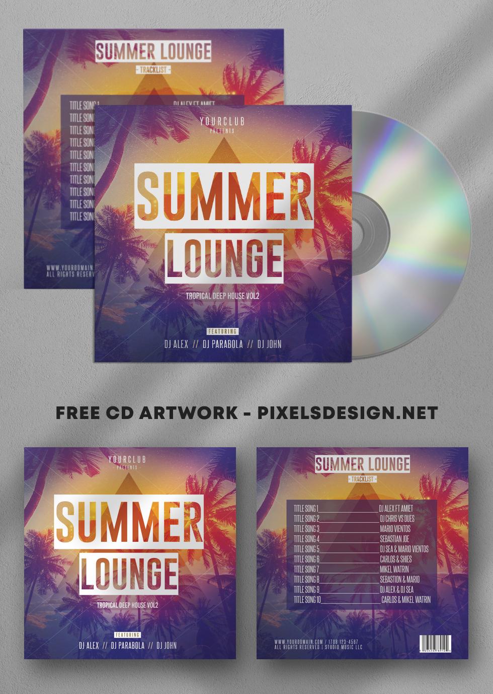 Summer Lounge Free CD Artwork PSD Template