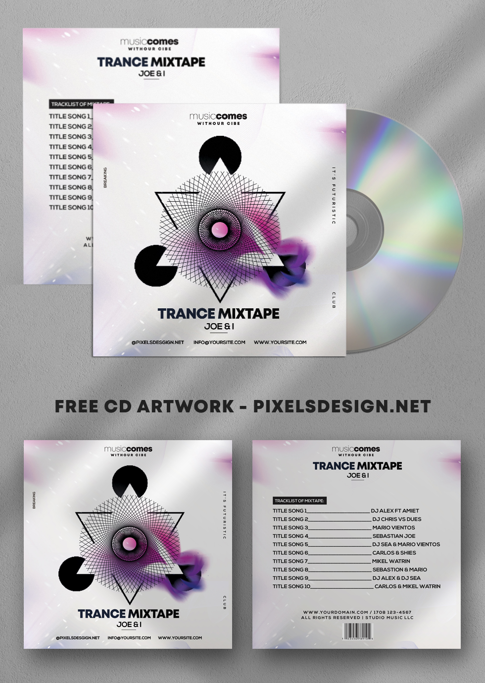 Free Trance Music Mixtape Album PSD Template