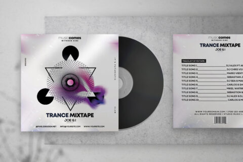 Free Trance Music Mixtape Album PSD Template