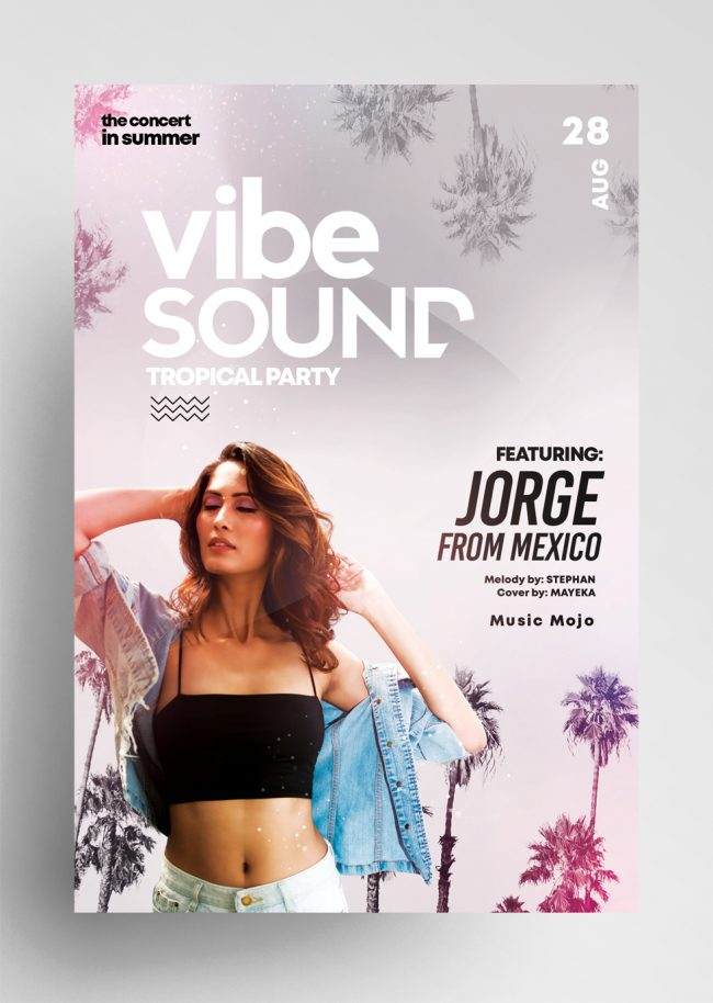 Vibe Sound Tropical PSD Flyer Template