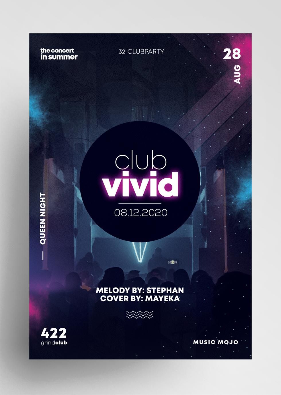 Club Vivid PSD Free Flyer Template vol2