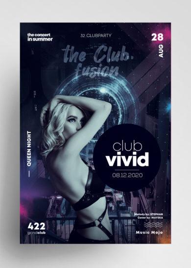 Club Vivid PSD Free Flyer Template vol1