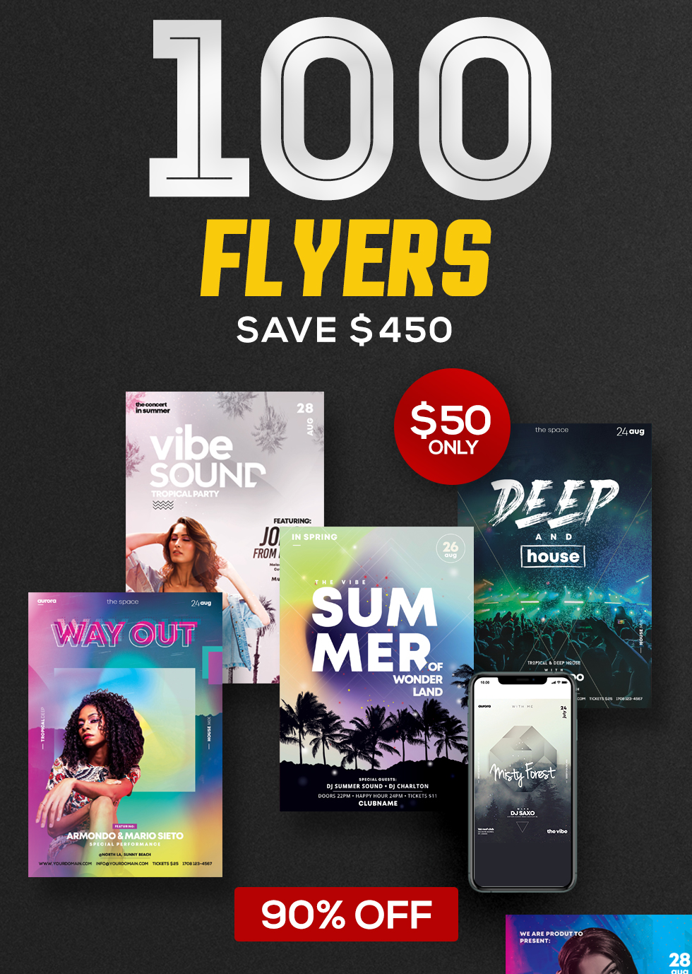 100+ Flyers Bundle - 90% OFF