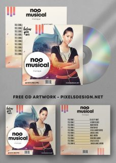 Noo Musical Free Mixtape CD Album PSD Template