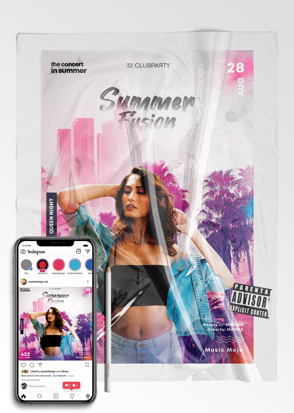 Summer Fusion Event - Flyer & Insta Post (PSD)