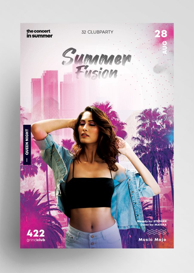 Summer Fusion Event - Flyer & Insta Post (PSD)