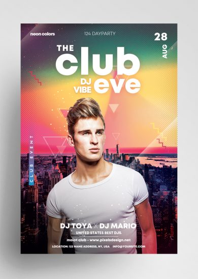 Club Eve Party Free PSD Flyer Template