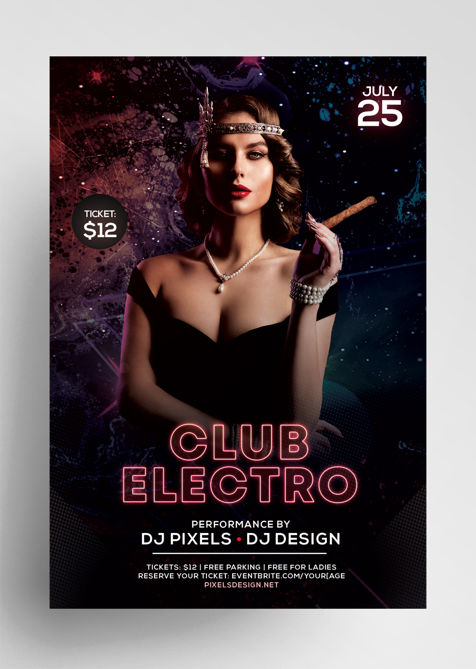 Club Electro Free PSD Flyer Template