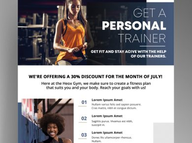 Personal Trainer Free Fitness PSD Flyer Template