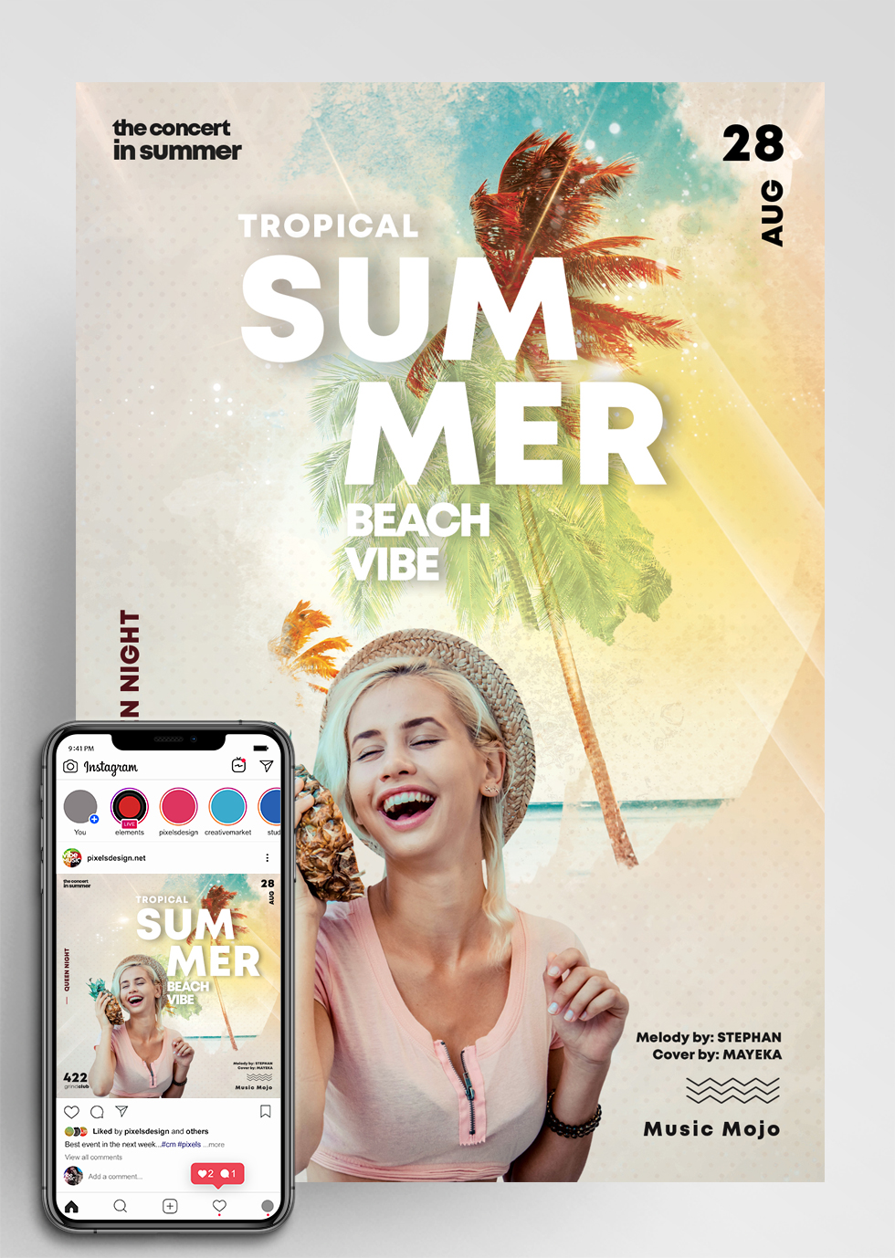 Summer Beach Party - Flyer & Insta Post (PSD)
