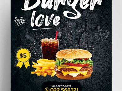 The Burger Love Free Restaurant PSD Flyer Template