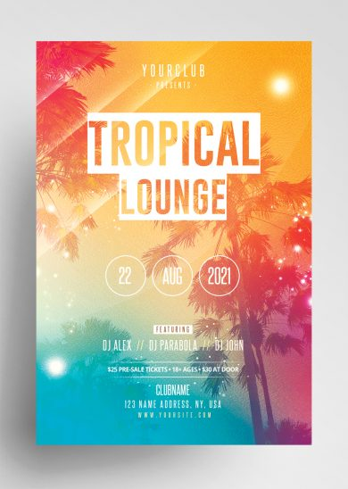 Tropical Lounge Free Summer PSD Flyer
