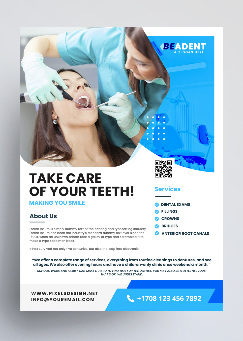 Dental Service Free PSD Flyer Template