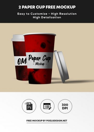Free 2 Paper Cup Mockup