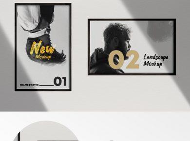 2 Poster Frames Free Mockup (PSD)