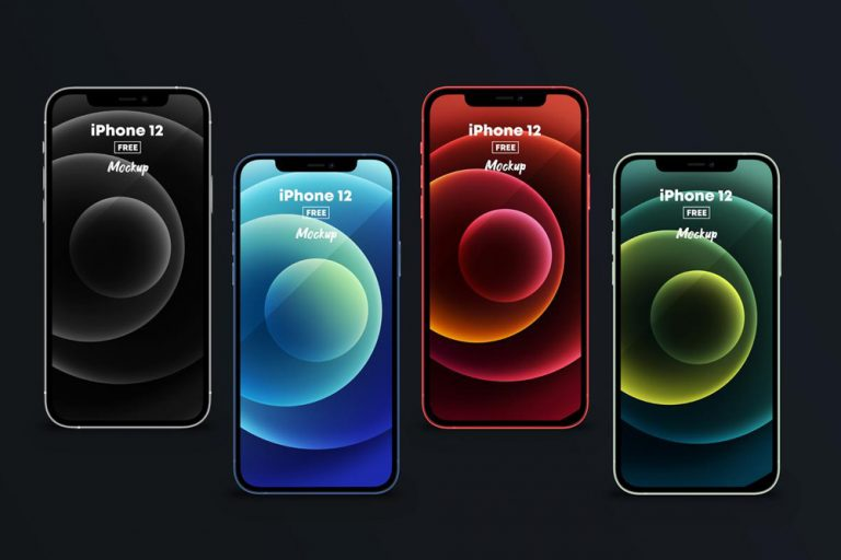 4 iPhone 12 in All Colors Free Mockup