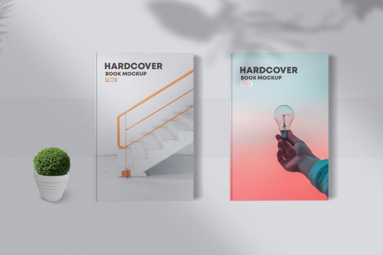 Free 2 Hardcover Book Mockup (PSD)