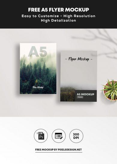 Free A5 Flyer Mockup (PSD)