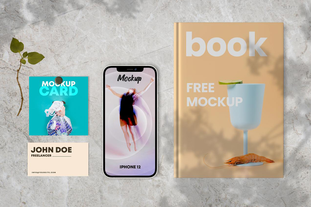 Free Book & Cards with iPhone 12 Mockup