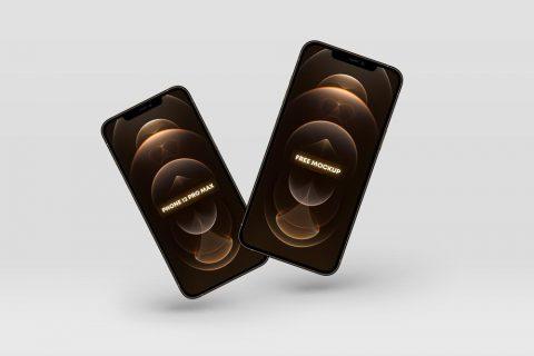 Free Floating iPhone 12 Pro Max Gold Mockup
